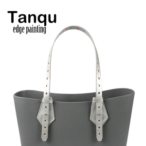 Image 1 - Tanqu双方向調整可能なエッジ塗装革ベルトハンドルのためのクラスプ付obagバスケットバケット市シックな女性ハンドバッグoバッグ