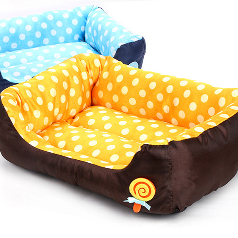 Fast Shipping Best Dog Bed Warm Pet Sofa Beds Lollipop Dot Kennel Hondenmand Cat House Cama Perro Supplies In Houses Kennels Pens