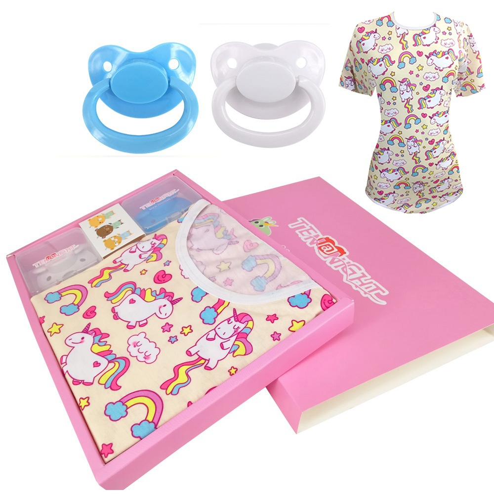 Women ABDL Cotton Adult Onesie Pajamas Romper Crotch Ddlg Adult Baby Onesie Girl Clothes Romper With Silicone Adult Pacifier Set