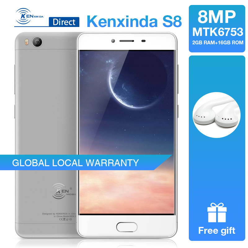Original Kenxinda S8 Ultra-thin Fingerprint 4G 5.0 inch 2GB+16GB Smartphone Android7.0 Dual SIM Cards Mobile Phones +Earphone