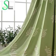 Exquisite Embroidered Curtains For Living Room Pastoral Leaves Quality Window Curtain Cortina Cortinas Rideaux Pour Le Salon