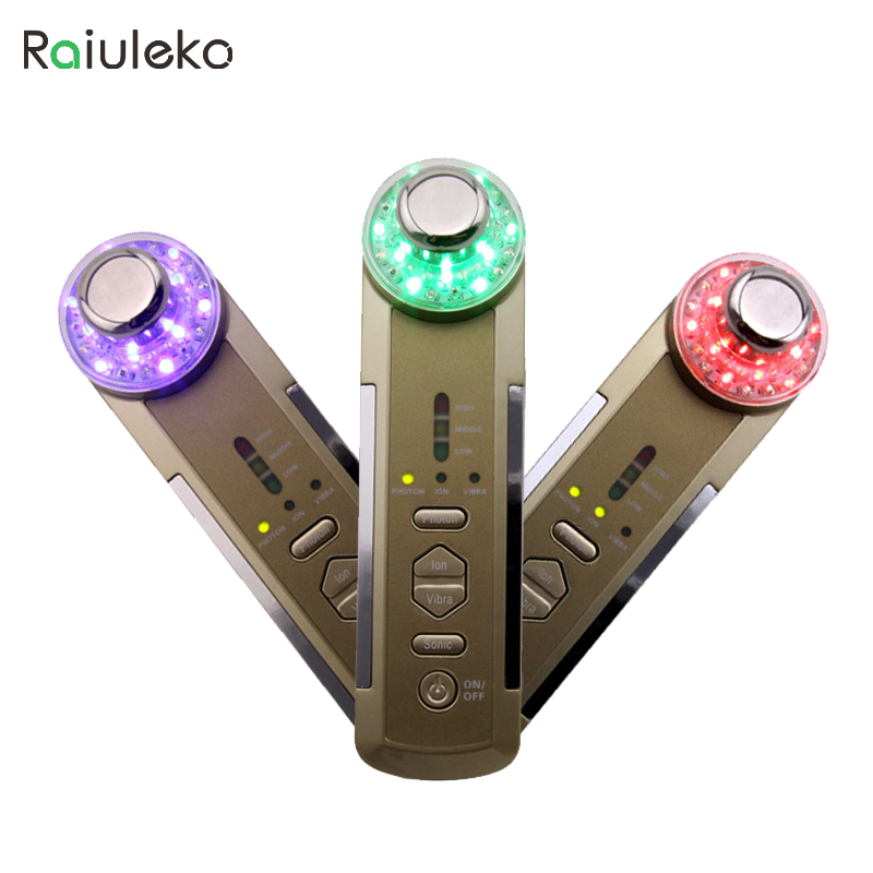 4 in 1 Portable Ultrasonic Photon Device Ionic Vibration  Massage Led Light Therapy Face Cleaning Facial Skin Care Massager anti acne pigment removal photon led light therapy facial beauty salon skin care treatment massager machine