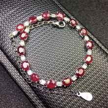 Luxurious Africa ruby bracelet for evening party 15 pcs natural SI grade ruby silver bracelet 925 sterling silver ruby jewelry