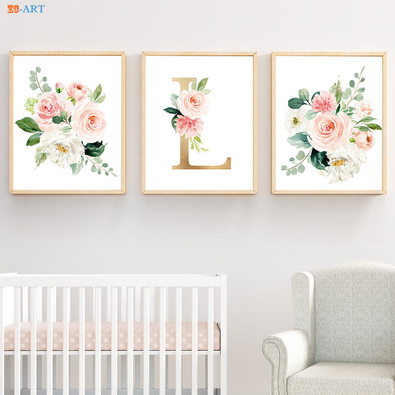 Modern Canvas Painting Watercolor Flower Blush Elegant Poster Pale Pink Monogram Prints Nursery Wall Art Home Decoration
