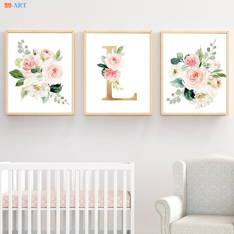 Personalised Name Custom Letter Nursery Floral Gallery Wall Art Poster Print