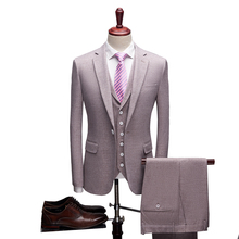 Loldeal Men Clothing wedding Groom Party Casual Suit 3 Piece Business Plain Slim Fit