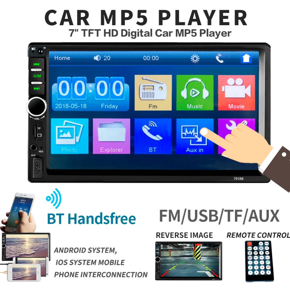 7018B 2Din Car MP5 Player 1080P 7 Touch Screen In Dash FM Radio Audio Media Player