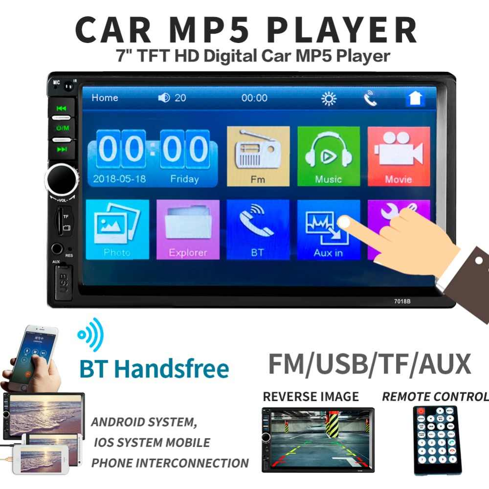 2 ディンマルチメディアプレーヤー喧騒車のラジオでリアカメラの一般的な 7 ''タッチスクリーン Autoradio カー MP5 新 7018B carplay & Mirrorlink