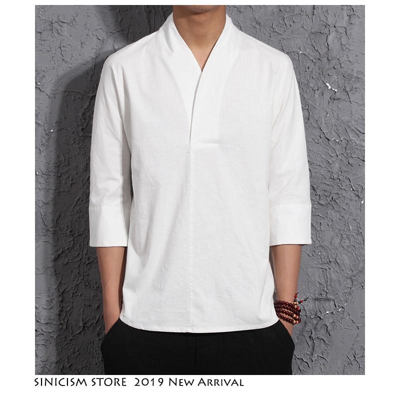 Sinicism Store Men Harajuku Cotton Linen Tshirt 2019 Mens Summer Solid Streetwear Fashions White Tshirts Male Summer T-shirts