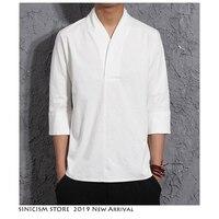 Sinicism Store мужской Harajuku хлопковый льняной Топ 2019 мужские летние однотонные уличные модные белые футболки мужские летние футболки