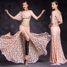 Belly Dance Costume Set Lace Sling Tribal Split Bellydance Skirt Women 2019 Practice Clothes New