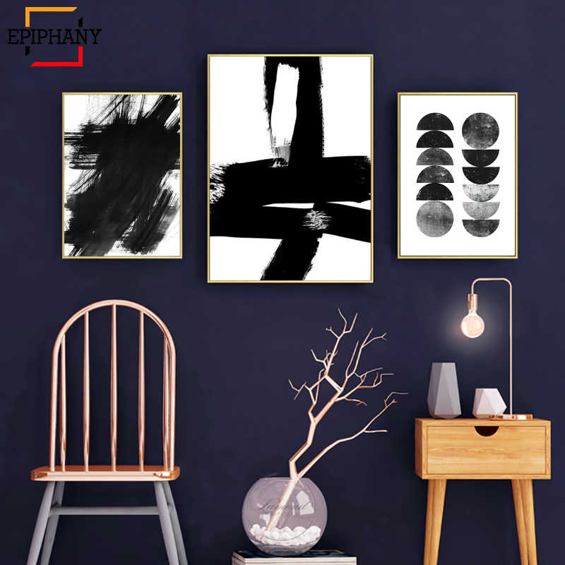 Abstract Black and White Art Print Scandinavian Poster Watercolor Modern Minimalist Canvas Painting Wall Picture for Living Room