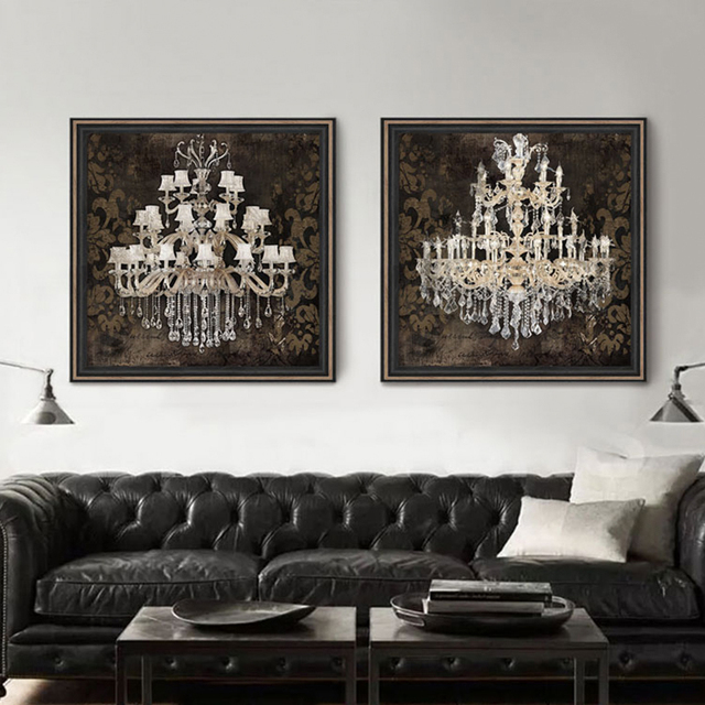 Modern Still Life Painting Canvas Art Crystal Chandelier Pattern Retro Living Room Bedroom Wall Posters