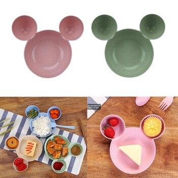 Посуда для хранения еды для детей, милые Мультяшные экологически чистые тарелки для детей, детские тренировочные приборы для еды