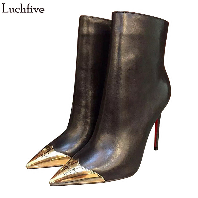 2018 New Short Boots 10 cm high heel high quality pointed toe gold metal fretwork carved