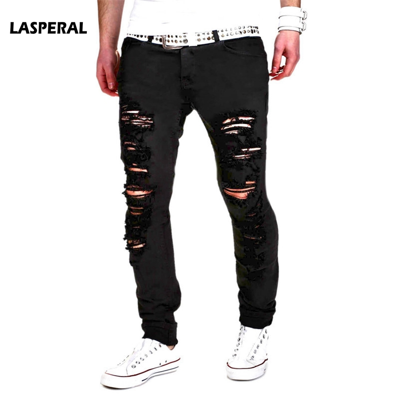 LASPERAL 2017 New Black Ripped Jeans Men With Holes Denim Super Skinny Brand Slim Fit Jean Pants Scratched Biker Cool Jeans 2XL 2016 new brand slim fit destroyed torn jeans new blue ripped jeans men with holes pants for male plus size 28 33