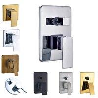 Chrome Brass Bathroom Hot Cold Bath Mixer Valve Wall Mounted Water Control Valve Single Handle Free