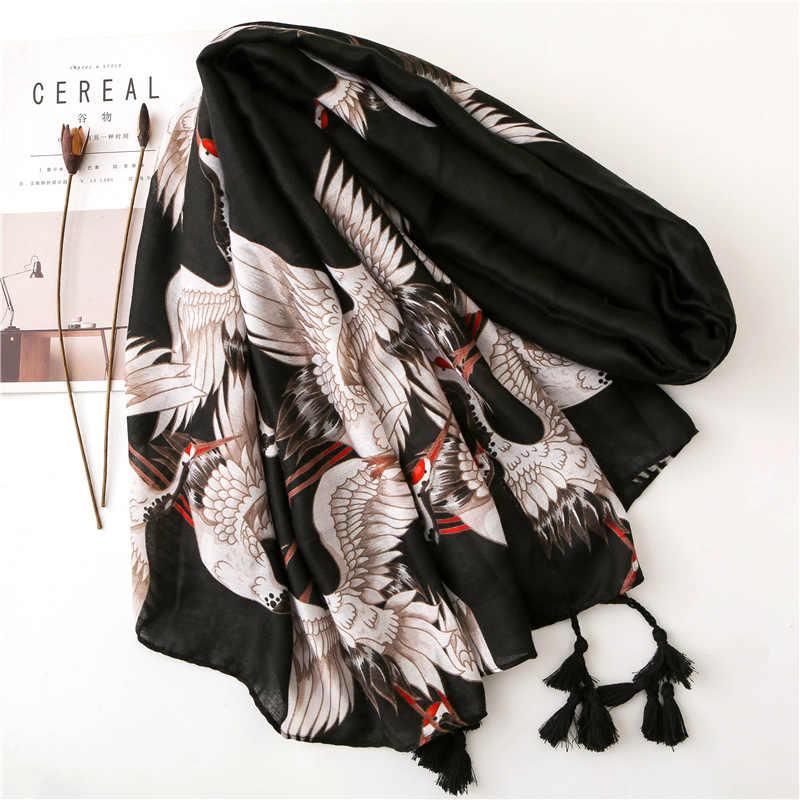 Женский шарф с принтом на весну и осень, весну и зиму, новая хлопковая и массажная шаль с кисточками, шаль двойного назначения черного цвета