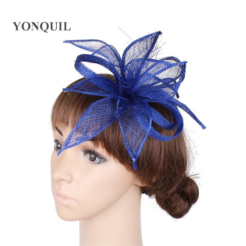 Vintage sinamay hair fascinators weddings derby hats with fancy feather headwear hair comb adorned headpiece church hats SYF255 headpiece