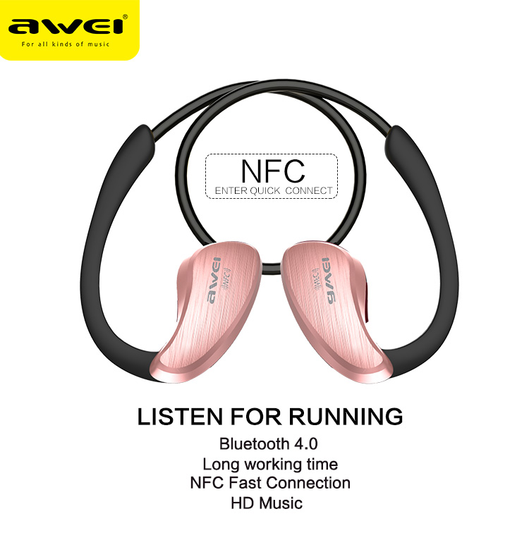 Sports Wireless Bluetooth Headset IPX4 Waterproof and Sweat Headphone Built-in NFC for WP/ Android /IOS Electronics Awei A885BL new arrival awei a840bl wireless sports bluetooth 4 sweat proof for iphone android mp3 mp4 ipad ipod with microphone