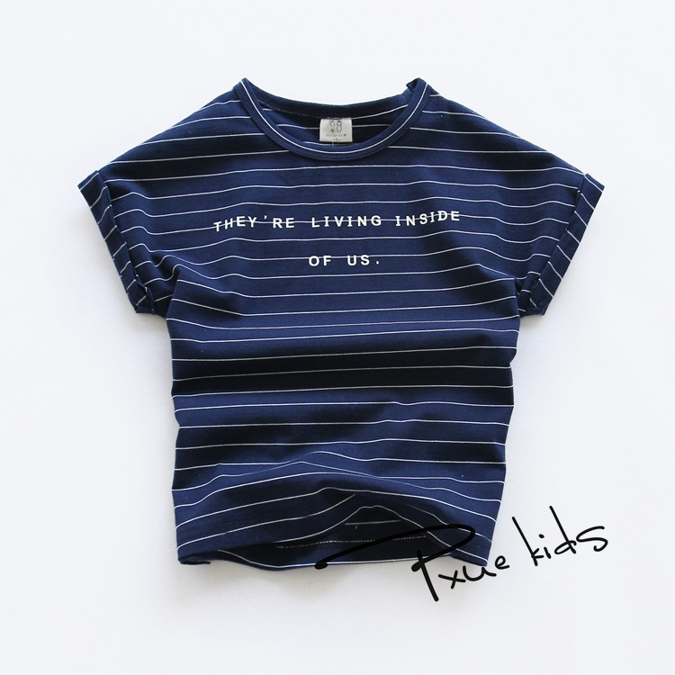Baru 2017 Kualitas Katun Surat stripe musim panas Bayi Perempuan anak  laki-laki T-shirt Pakaian Anak Balita Anak-anak Pakaian Pendek Tees t Shirts 70b8fb8329