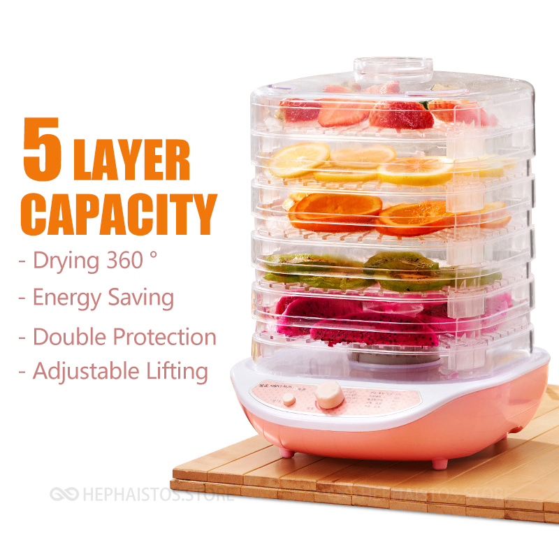 Fruit Dehydrator 5 Layer Household Vegetable Herb Meat Drying Machine Snacks Small Food Dryer Good Package