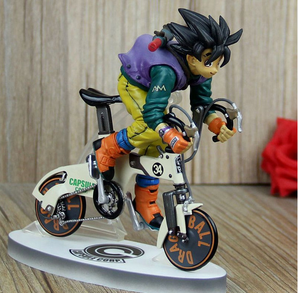 23cm Anime Dragon Ball Z Super Saiyan goku cycling PVC Action Figures Collection Model Toys Doll WL062 free shipping 39cm 1pcs dragon ball z super saiyan goku orangutan riding pvc action figures collection model toy doll