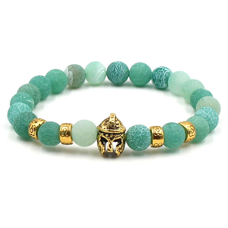 צבע זהב אביר רומי גלדיאטור קסדת Spartan Warrior צמיד תכשיטי צמידי חרוזים אבן אבן שחורה גברים לגברים