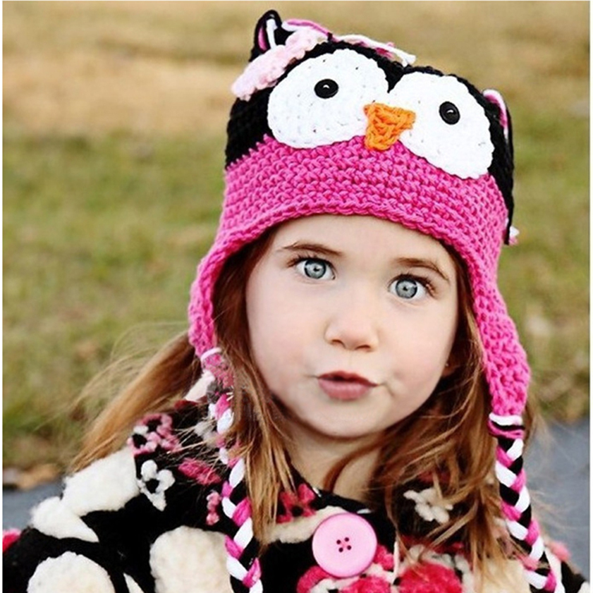 8c5620d15 US $3.98 |Handmade Knitted Kids Caps Baby Cartoon Infant Toddler Crochet  Baby Hats Owl Cap With Ear Flap Animal Style For Baby Grils Boys-in Hats &  ...