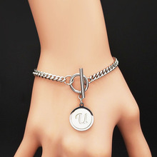 Punk Letter U Shell Stainless Steel Bracelet Women Silver Color Bracelets Bangles Jewelry pulsera acero inoxidable mujer B18411