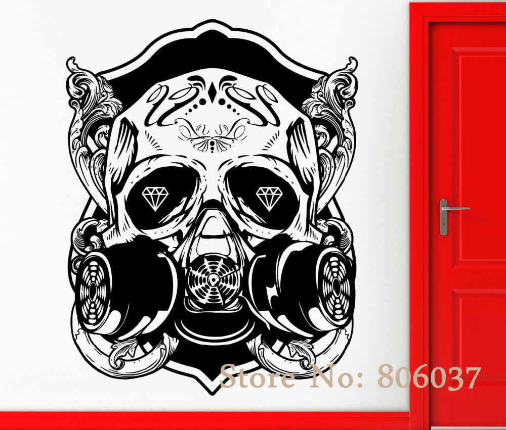Removable Diy Wall Stickers Vinyl Decal Skull Scary Cool Gothic Decor Rock N Roll Special Home Decor Mural Adesivo Wa 31
