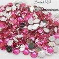 400 unids 2mm-6mm Tamaño Mixto Luz hermosa encantadora rosa 14 faceta ronda espumoso diamante de acrílico decoración de uñas de arte N14