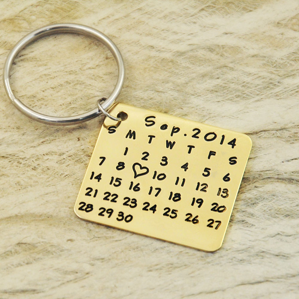 key chain-save special date-heart-highlight keychain anniversary-hand stamp-alloy keychainwedding,birthday square shape