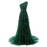2018 New Real Elegant Dark Green Evening Dress A Line One Shoulder Court Train Tulle Women