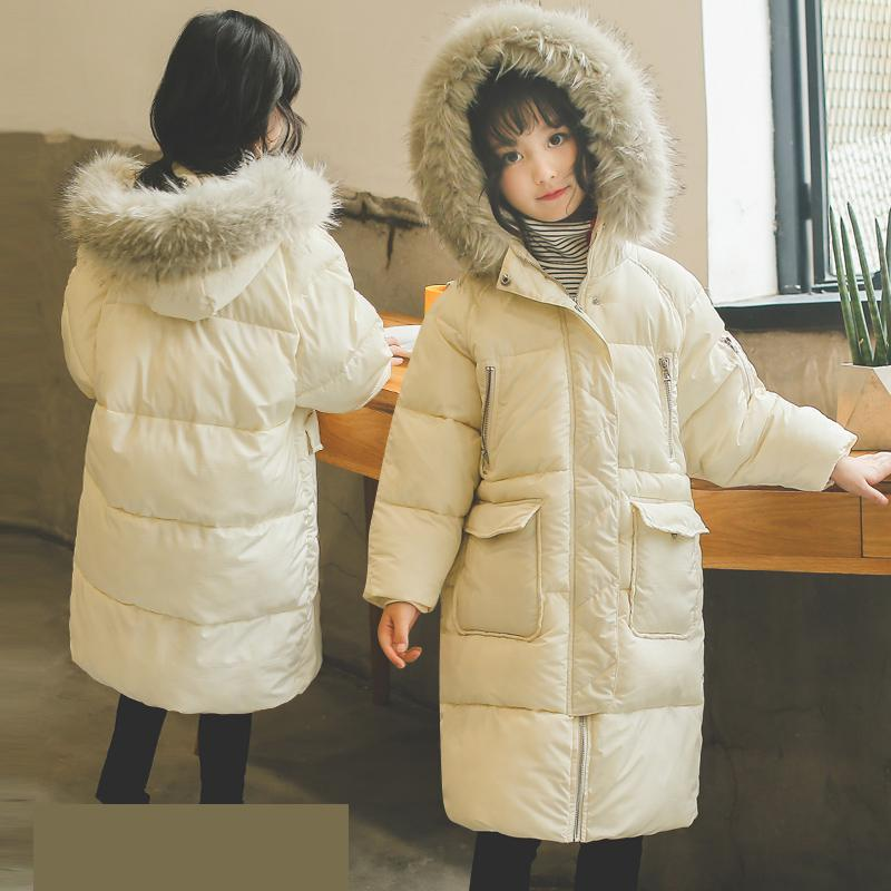 Toddler Girls Winter Coats 2018 Cotton Down Jackets For Teenagers Big Fur Hooded Long Warm Girls Clothing Outwear Snowsuit SaleToddler Girls Winter Coats 2018 Cotton Down Jackets For Teenagers Big Fur Hooded Long Warm Girls Clothing Outwear Snowsuit Sale