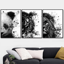 Watercolor Lion Panda Tiger Wall Art Canvas Painting Nordic Posters And Prints Black White Pictures For Living Room Decor
