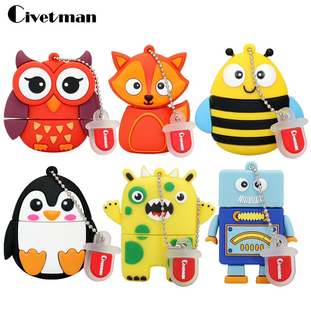 Nueva llegada Unidad flash USB 128GB Pen Drive 4GB 8GB 16GB 32GB 64GB USB-flash Pendrive Mini Lovely Owl / Robot Memory Stick U Disco