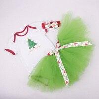 Hot Sale Christmas Day Gift Baby Girls Dress Handmade Skirt T Shirt And Hair Clips Three