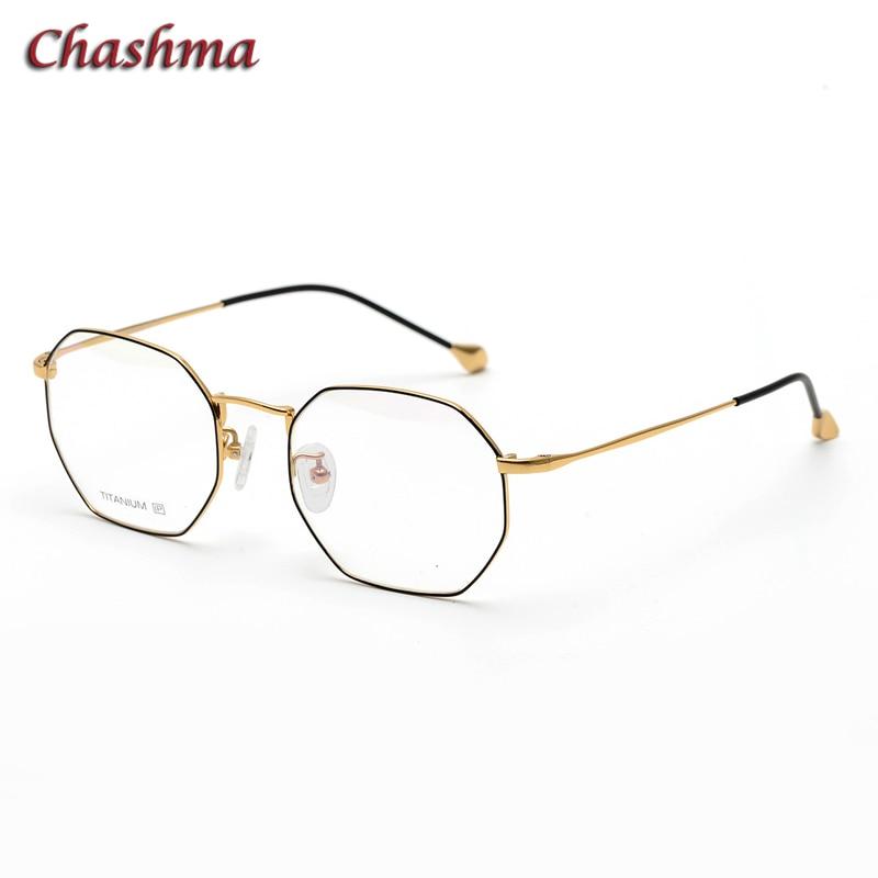 Chashma octogone lunettes montures pour femmes titane gozluk cercevesi armacao para oculos de grau feminino lunettes transparentes
