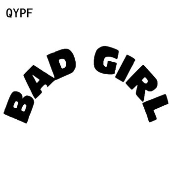 QYPF 17CM*8CM Creative Personality Decoration Bad Girl Vinyl Car Sticker Decal Black Silver C15-1914 image
