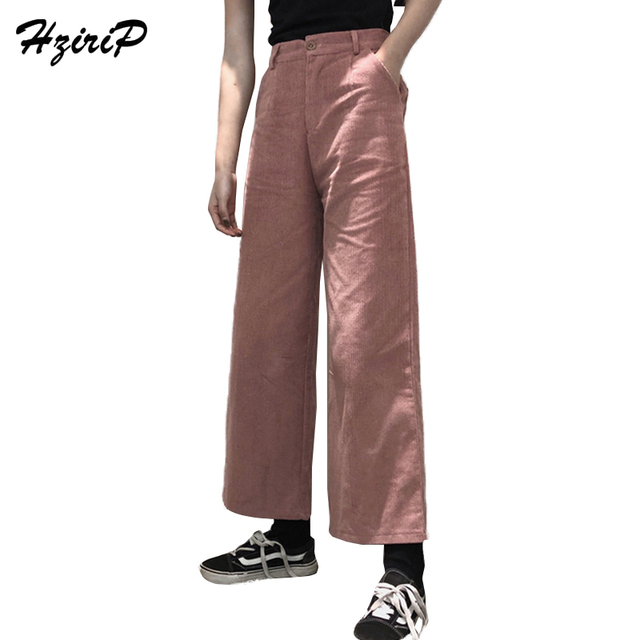 HziriP High Waist Straight Wide Leg Pants 2018 New Spring Autumn Vintage Loose  Women Trousers Solid Casual Corduroy Pants Femme 038dd5d46e2