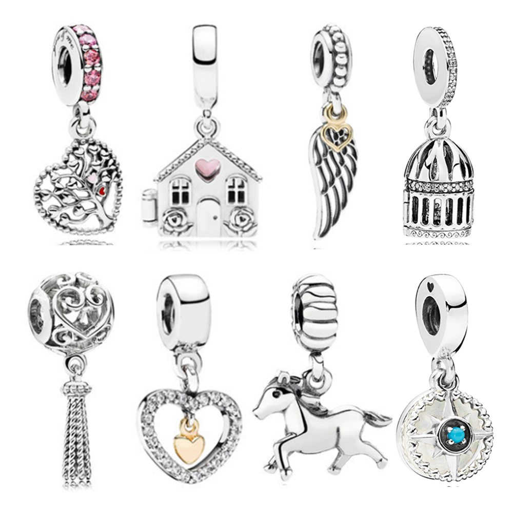 dodocharms Silver Plated Angel Wings House Horse LOVE Wing Heart Charm Beads Fit Pandora Women DIY Bracelets Bangles Jewel