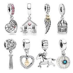 Dodocharms Gümüş Kaplama Melek Kanatları Evi At AŞK Kanat Kalp göz alıcı boncuk Fit Pandora Kadın DIY bilezikler Bilezik Mücevher