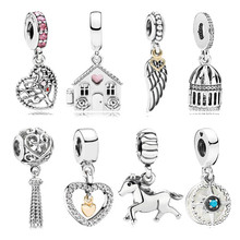 dodocharms Silver Plated Angel Wings House Horse LOVE Wing Heart Charm Beads Fit Pandora Women DIY Bracelets Bangles Jewel(China)