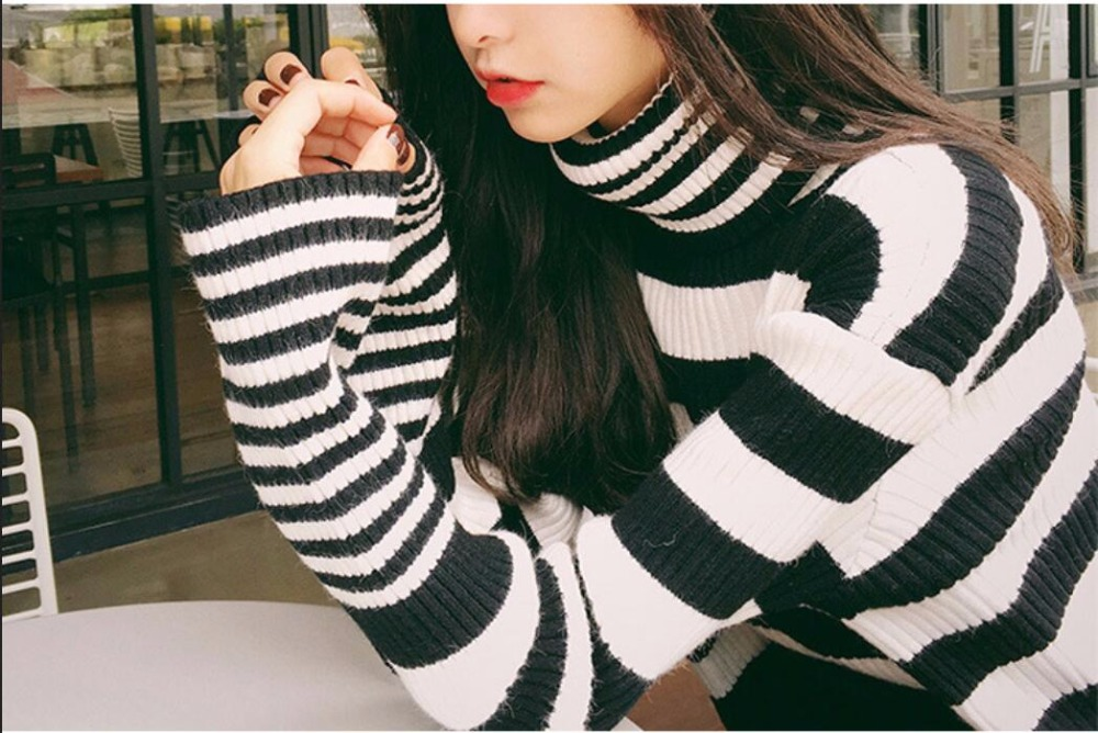2018 Turtleneck Sweater Stripe Autumn Sweater Knitted Pullover Black Striped Turtleneck Ribbed Sweater Encapuchado pullover Frau