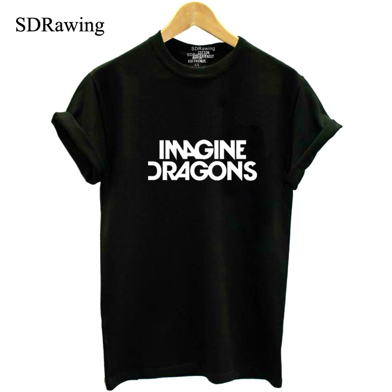 Fashion T shirt IMAGINE DRAGONS Letters Print Cotton Casual Funny Shirt Forwomen Top Tee Hipster Tumblr Drop Ship