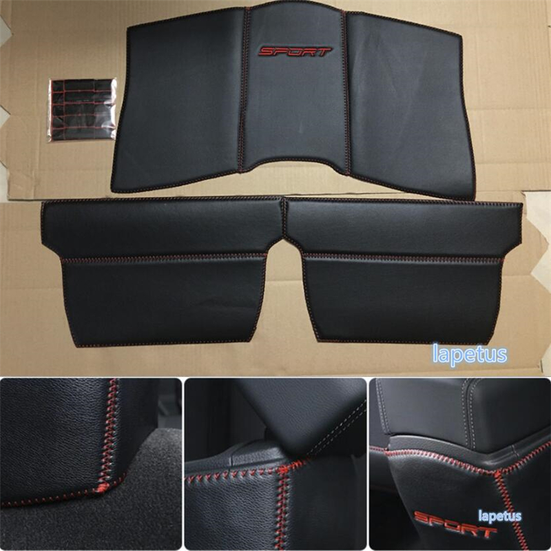 Lapetus Rear Seat Armrest Box Anti Kick Pad Cover Trim Kit 3 piece Set Protection Kit