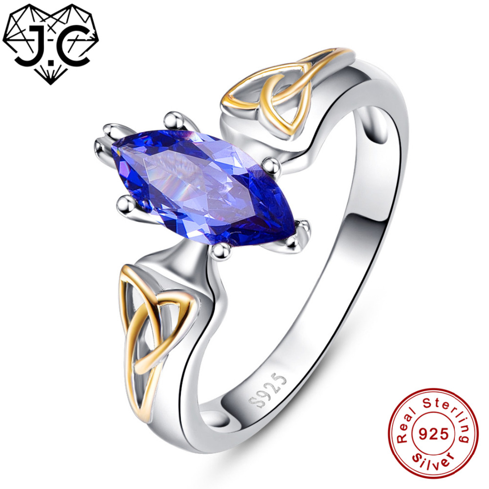 J.C High Quantity Ruby Spinel & Tanzanite Marquise Cut Real 925 Sterling Silver Ring Size 6 7 8 9 Exalted Women Fine Jewelry