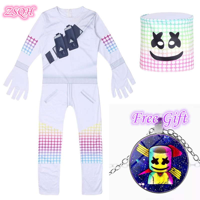 ZSQH DJ Marshmallow Jumpsuit Cosplay Costume Marshmellow suit New Children Bodysuit Cute Marshmellow Cosplay For Kids Girls Boy