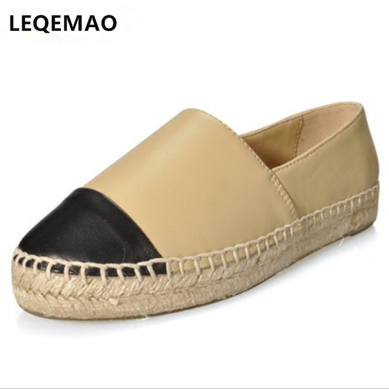 все цены на New Fashion Comfortable Seasons Women Espadrilles Shoes Genuine Leather Flats Woman Casual Loafers High Quality Big Size 34-42